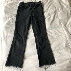 Helmut Lang high rise crop black jeans w raw hem